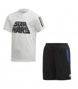 Conjunto para niños de pantalón y camiseta adidas con motivos de Star Wars FM2869 para los más pequeños de la casa en chemasport.es