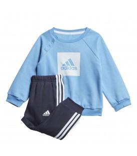 Chándal para niños adidas 3 bandas Fleece de color azul con pantalón y sudadera al mejor precio en chemasport.es
