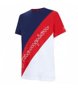 camiseta champion crewneck para hombre en color rojo y azul disponible en tu tienda online chemasport.es