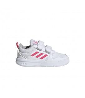 Zapatillas para niños adidas Tensaurus I EF1113 de color blanco y rosa con cierre de velcro al mejor precio en chemasport.es