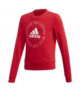 Sudadera de cuello redondo para niños adidas Bold J GE0069 de color rojo al mejor precio en tu tienda de deportes online barata chemasport.es