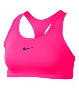 Top deportivo de entrenamiento para mujer Nike Swoosh de color rosa al mejor precio en tu tienda de deportes online chemasport.es