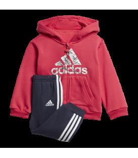 Chándal para niños adidas I Logo de color rosa con chaqueta con capucha y pantalón con puños al mejor precio en chemasport.es