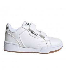 zapatillas adidas roguera para niño en color blanco con cierre de velcro al mejor precio