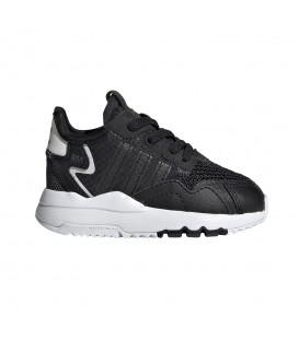 zapatillas adidas nite jogger en color negro para niño con cierre de cordones elásticos al mejor precio