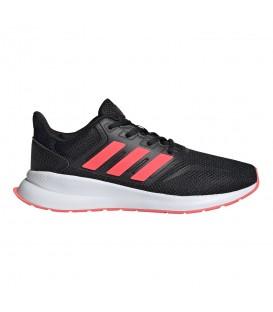zapatillas adidas runfalcon k para mujer y niños en color negro y coral en la tienda online chemasport.es