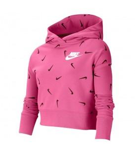 Sudadera nike sportwear big kids para niña en color rosa con estampados en la tienda online chemasport.es