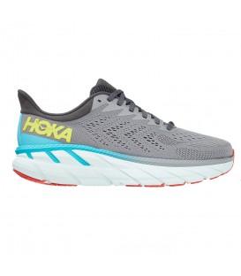 zapatillas hoka clifton 7 para hombre en color gris en la tienda online chemasport.es