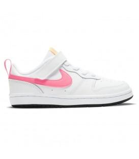 Zapatillas Nike Borough Low 2 en color blanco y rosa para niña al mejor precio en tu tienda online de moda sportwear www.chemasport.es