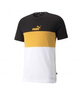 Camiseta Puma Ess Colorblock Tee para hombre en color blanco, negro y mostaza al mejor precio en tu tienda online de moda www.chemasport.es
