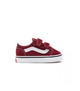 Zapatillas Vans Old Skool V para bebé en color granate disponible al mejor precio en tu tienda online de moda y deportes www.chemasport.es