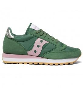 Zapatillas para mujer Saucony Jazz Originals de color verde y rosa al mejor precio en tu tienda online de deporte, accesorios y moda www.chemasport.es