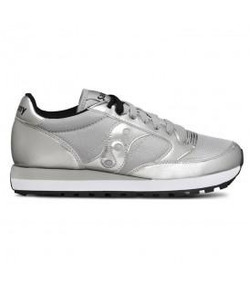 Zapatillas para mujer Saucony Jazz Originals de color plata al mejor precio en tu tienda online de deporte, accesorios y moda www.chemasport.es