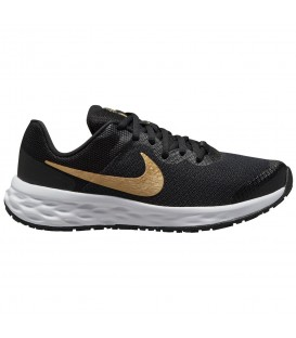 Zapatilla Nike Revolution 6 en color negro dorado para mujer o niño para running al mejor precio