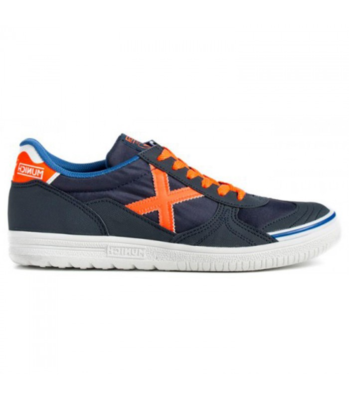cf8d754752c Zapatillas de fútbol sala Munich G3 para hombre de color azul naranja